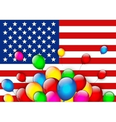 American flag greeting with balloons vector image