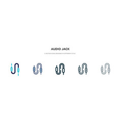 Audio jack icon in different style two colored vector