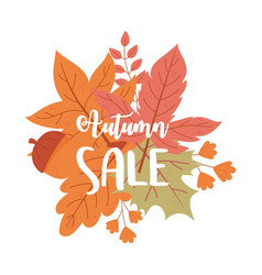 autumn sale hand drawn calligraphy leaves vector image