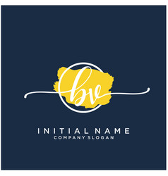 b v initial handwriting logo design with brush vector image