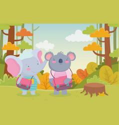 back to school education koala and elephant vector image