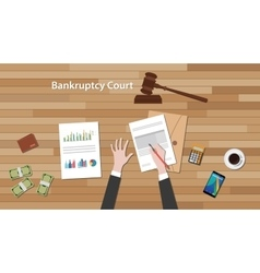 bankcruptcy court concept with business man work vector image