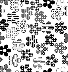 Black and white patterned flowers seamless vector image