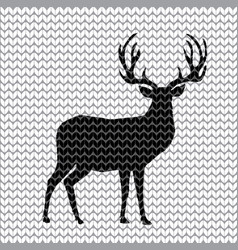 black knit reindeer with big horns on white vector image