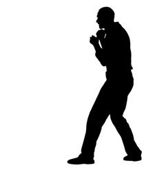 Black silhouette of an athlete boxer on a white vector