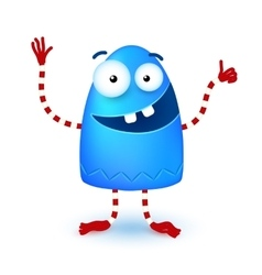 Blue funny cute little smiling monster vector