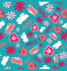 Blue tossed floral and leaves mix seamless pattern vector