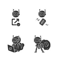 Bot types glyph icons set hacker backlink checker vector