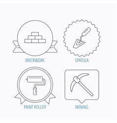 Brickwork spatula and mining icons vector