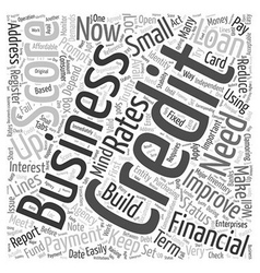 Build Up Your Business Credit Word Cloud Concept vector image