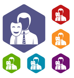 businessman holding smile mask icons set hexagon vector image