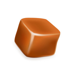 Caramel toffee candy delicious sugary cube vector