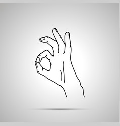 cartoon hand in ok gesture simple outline icon vector image