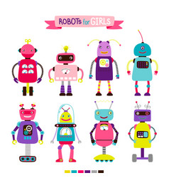 cartoon robots set for girls vector image