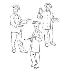 chef line art 02 vector image