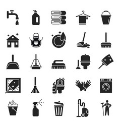 cleaning service icons clean equipment quality vector image