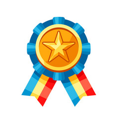 colored rosette with gold medal vector image
