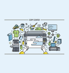 Concept of copy center print shop publishing vector