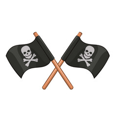 crossed pirate flags icon cartoon style vector image