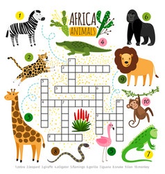 Crossword africa animals kids zoo african vector
