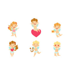 cute baangels with wings set happy adorable vector image