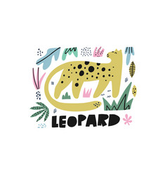 cute leopard flat hand drawn vector image