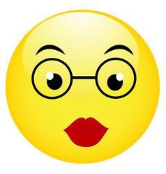 cute smiling emoticon wearing eyeglasses emoji vector image