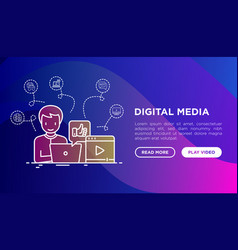 digital media concept with thin line icons vector image