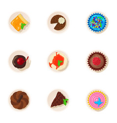 Doughnut icons set cartoon style vector