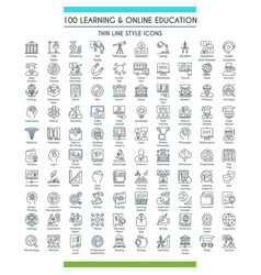 Education line icons big set vector