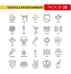 events and entertainment black line icon - 25 vector image