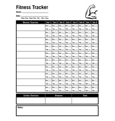 fitness workout tracker form vector image