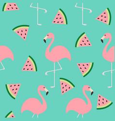 Flamingo set seamless pattern exotic tropical vector