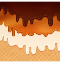 Flowing glaze set on wafer texture vector image
