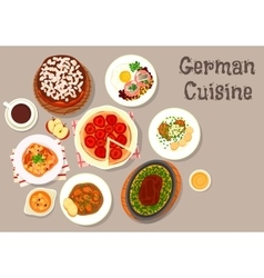 German cuisine meat dishes with desserts icon vector
