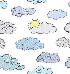 hand drawn doodle set different clouds sketch vector image