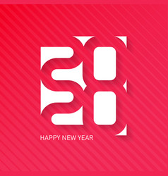 happy new year 2020 greeting card with halftone vector image