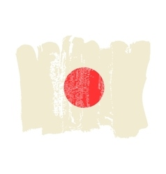 Japan flag painted by brush hand paints vector