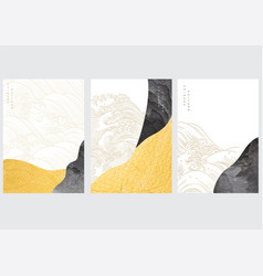 japanese background with gold and black texture vector image