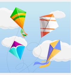 kite in the sky concept background cartoon style vector image
