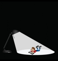 lamp and boy reading vector image