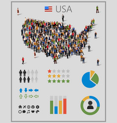 large group of people in united states of america vector image