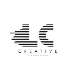 lc l c zebra letter logo design with black and vector image