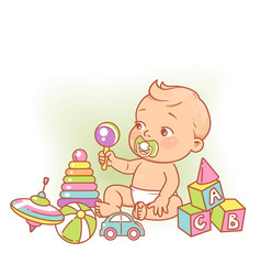 little baboy in diaper sitting playing with vector image