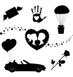 love icons set of 7 valentine silhouette signs on vector image