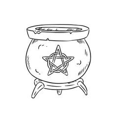 Magic cauldron with pentagram doodle sketch hand vector