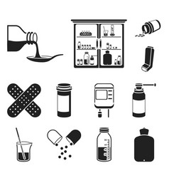 medicine and treatment black icons in set vector image