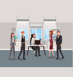 Modern office with business people vector
