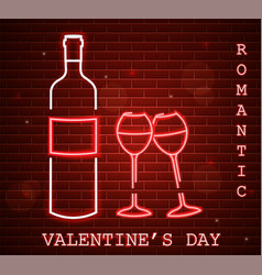 neon valentine day card with wine bottle and vector image