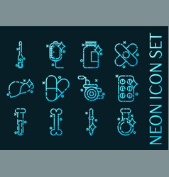 pharmacy set icons blue glowing neon style vector image